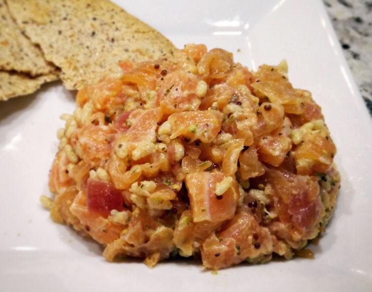 recette, tartare, deux saumons, saumon, frais, fumé, oignon, origan