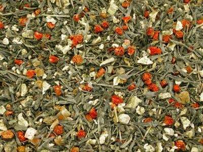Fraises des champs, fraises des bois, fraise sauvages, thé vert